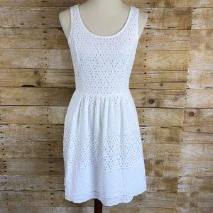 Elle White Eyelet Hole Dress Sz 6